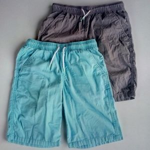 🆕 Cat & Jack Gray & Aqua Pull On Shorts Lot 12/14